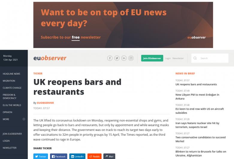 UK reopens bars and restaurants