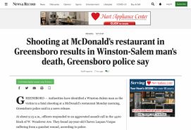 Shooting at McDonald's restaurant in Greensboro results in Winston-Salem man's death, Greensboro police say
