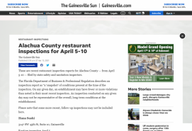 Alachua County restaurant inspections for April 5-10