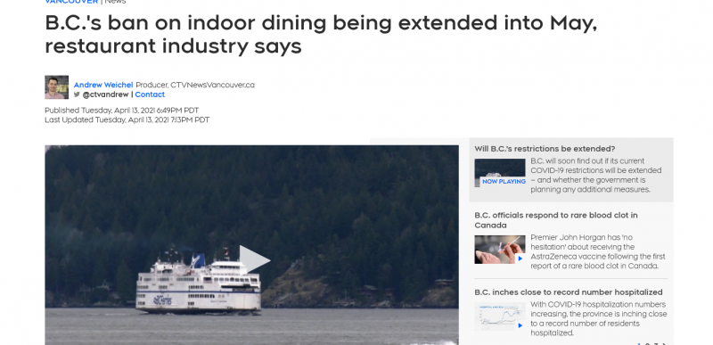 B.C.'s ban on indoor dining being extended into May, restaurant industry says
