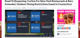 Road To Reopening: Curfew For New York Restaurants & Bars Extended, Outdoor Dining Restrictions Eased In Connecticut