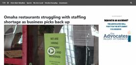 Omaha restaurants struggling with staffing shortage as business picks back up