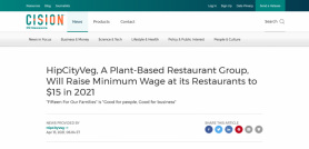 HipCityVeg, A Plant-Based Restaurant Group, Will Raise Minimum Wage at its Restaurants to $15 in 2021