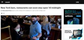 New York bars, restaurants can soon stay open 'til midnight
