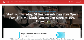 Starting Thursday, SF Restaurants Can Stay Open Past 11 p.m., Music Venues Can Open at 35% Capacity