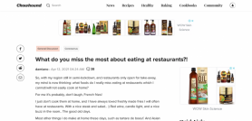 What do you miss the most about eating at restaurants