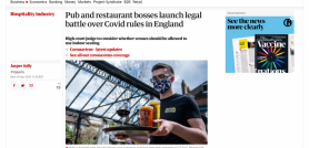 Pub and restaurant bosses launch legal battle over Covid rules in England