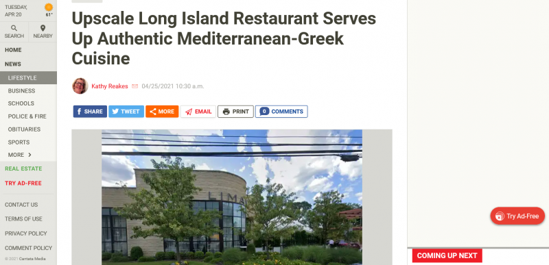 Upscale Long Island Restaurant Serves Up Authentic Mediterranean-Greek Cuisine