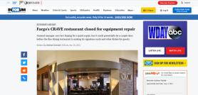 Fargo's CRAVE restaurant closed for equipment repair