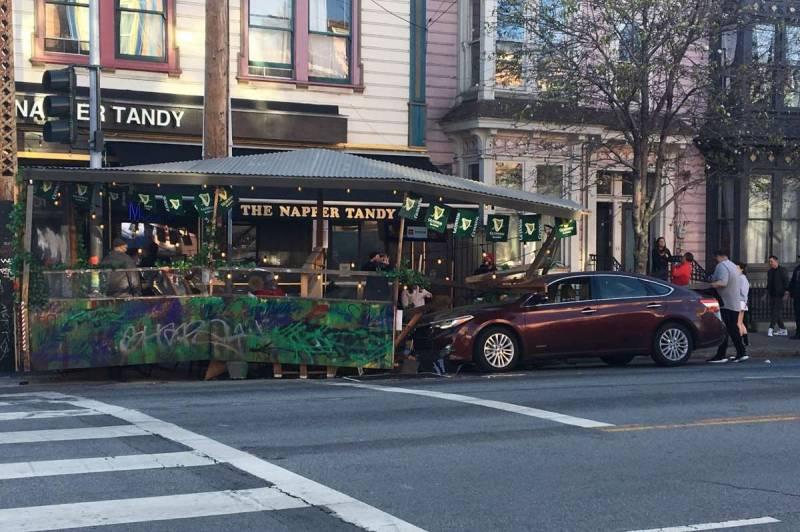 Driver smashes into San Francisco restaurant parklet, 2 go to hospital, police say