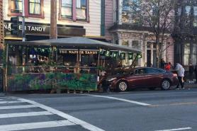 Driver smashes into San Francisco restaurant parklet, 2 go to hospital, police say