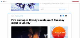 Fire damages Wendy's restaurant Tuesday night in Liberty