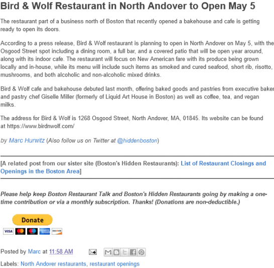 Bird & Wolf Restaurant in North Andover to Open May 5