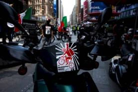 Backed By One of NYC's Largest Unions, Food Delivery Workers Protest for Better Work Conditions
