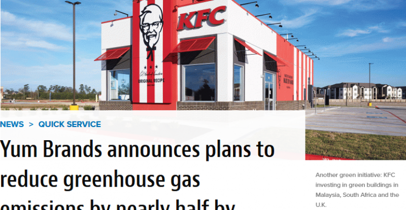 Yum Brands announces plans to reduce greenhouse gas emissions by nearly half by 2030