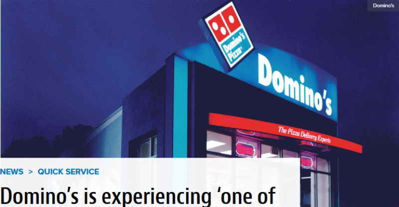 Domino's is experiencing 'one of the most difficult staffing environments in a long time'