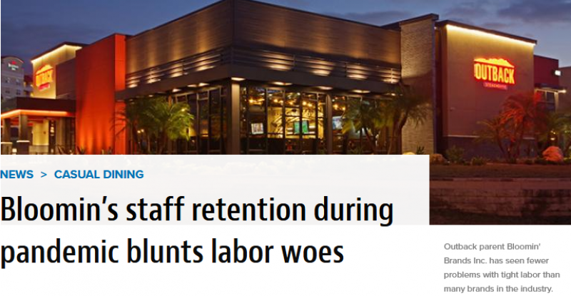 Bloomin's staff retention during pandemic blunts labor woes