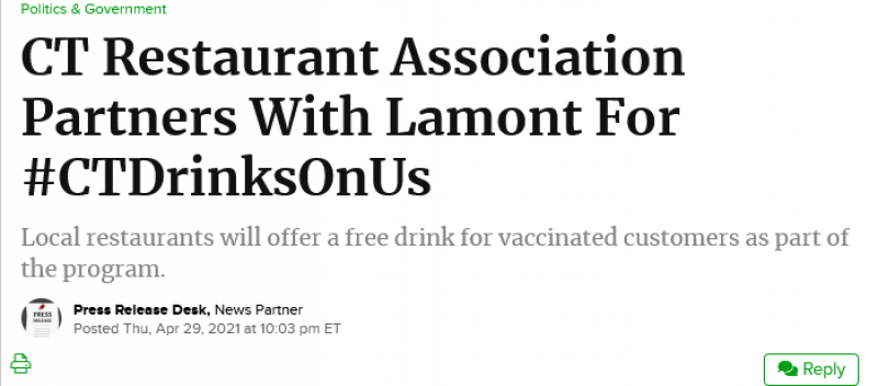 CT Restaurant Association Partners With Lamont For CT Drinks On Us