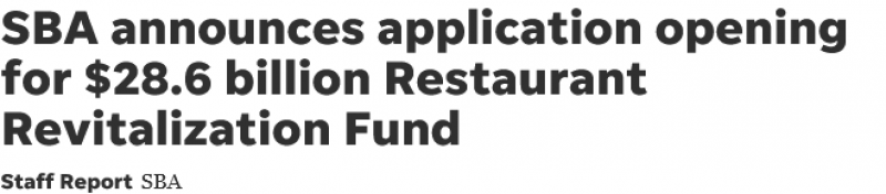 SBA announces application opening for $28.6 billion Restaurant Revitalization Fund