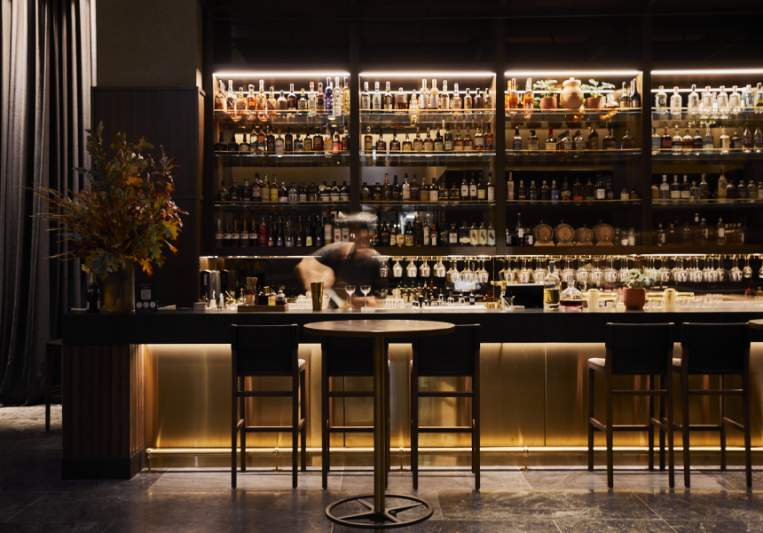 Up a Marble Staircase, La Madonna Is a Vast, Golden-Lit Restaurant and Bar in the New Next Hotel